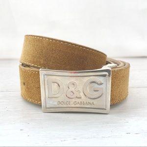 Dolce & Gabbana Belt Tan, Suede